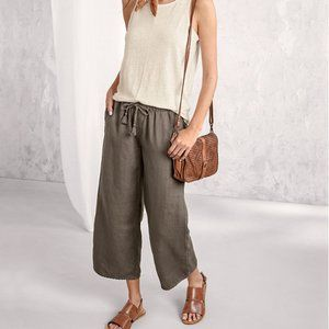 Garnet Hill Linen Lace-Trimmed Cropped Pants